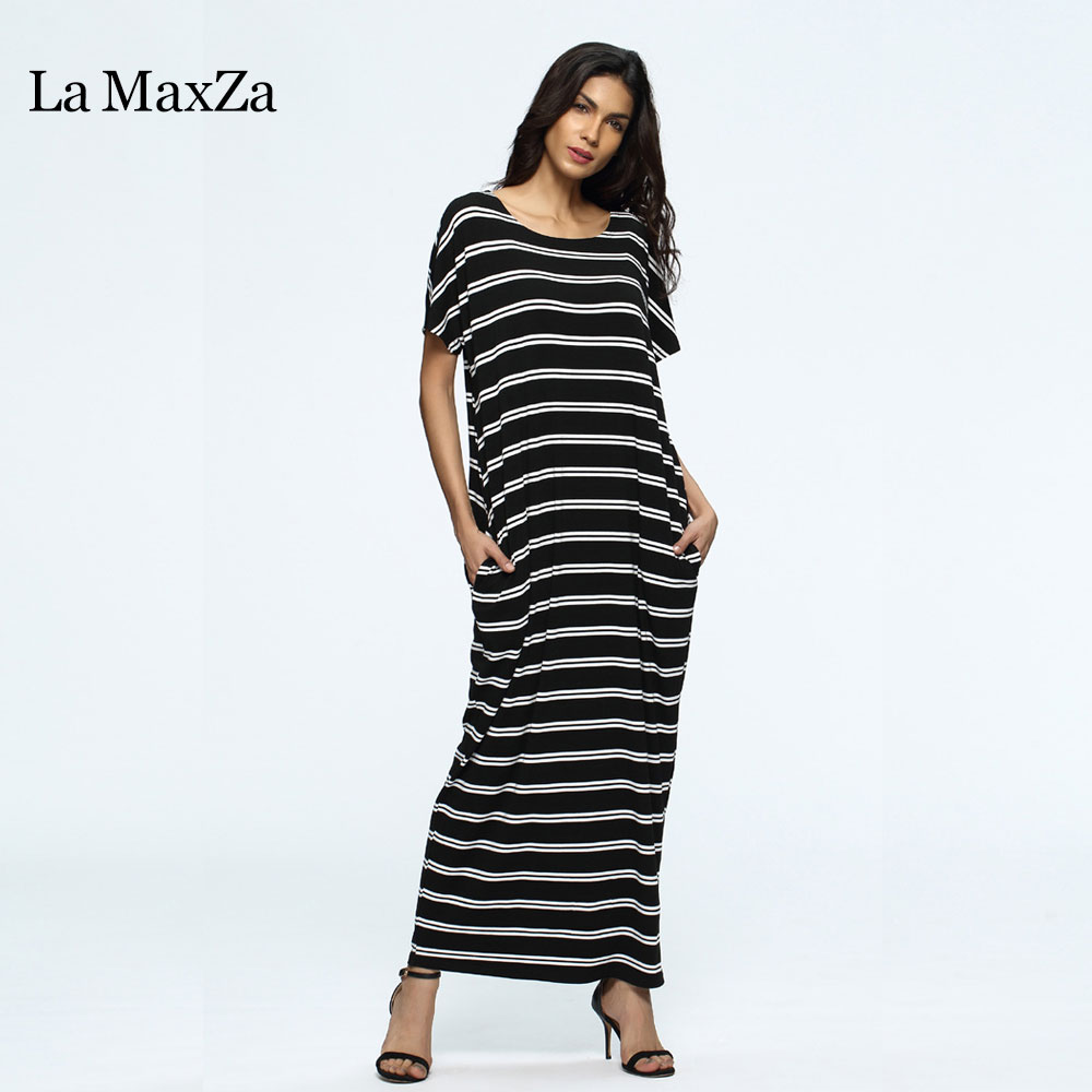 La MaxZa Loose Striped Print Daily Women Dress Party Work Knitted Clothing O Neck Short Sleeve