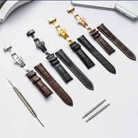 Correa de reloj de cuero genuino 16mm 18mm 19mm 20mm 21mm 22mm cinta suave pantorrilla correa de reloj de grano de cocodrilo para Tissot Seiko