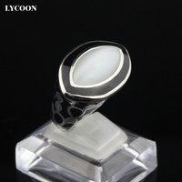 Fashion Cat's eyes stone ring black resin High quality 316L Stainless steel white opal stone rings in eye shape for woman