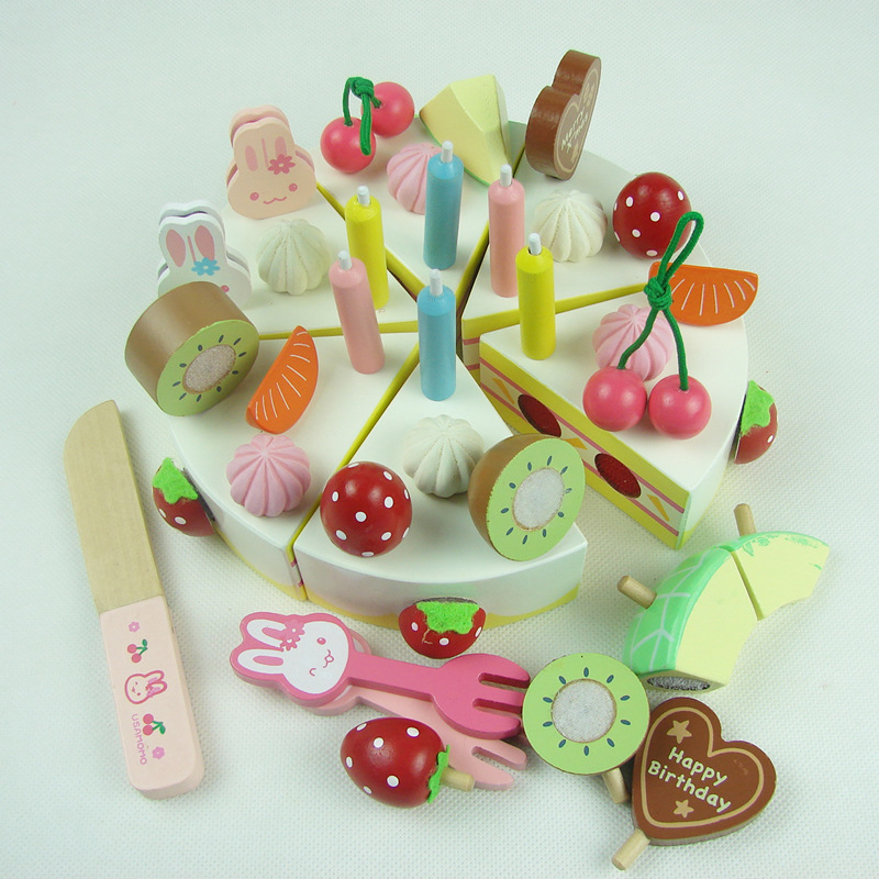 Candice guo wooden toy rabbit fruit cake cut strawberry cake play house kitchen food birthday christmas gift set