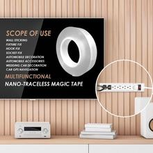 Double-Sided Adhesive Nano Tape Transparent No Trace Magic Tape Reuse Waterproof 3m Adhesive Tape Washable Tapes Gel Stickers 3m double sided tape strong acrylic adhesive pet red film clear double side tapes no trace for phone tablet lcd screen glass