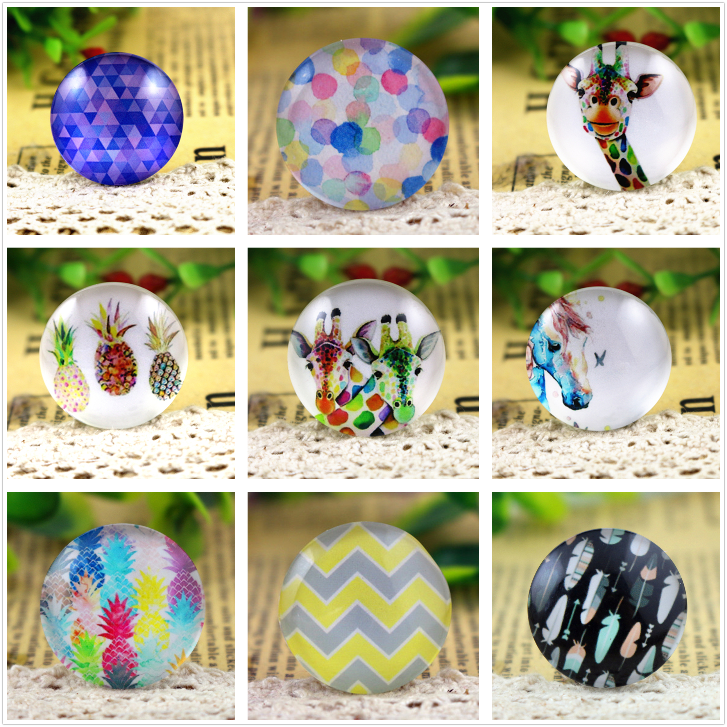 New Fashion  5pcs/Lot 25mm Popular Pattern, Alpaca Style Handmade Photo Glass Cabochons Pattern Jewelry Accessories Supplies
