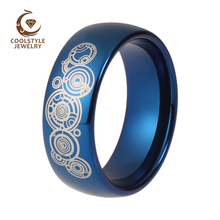 8mm Mens Womens Wedding Enagement Band Doctor Who Blue Plated Domed Tungsten Carbide Ring Custom Laser Engraving