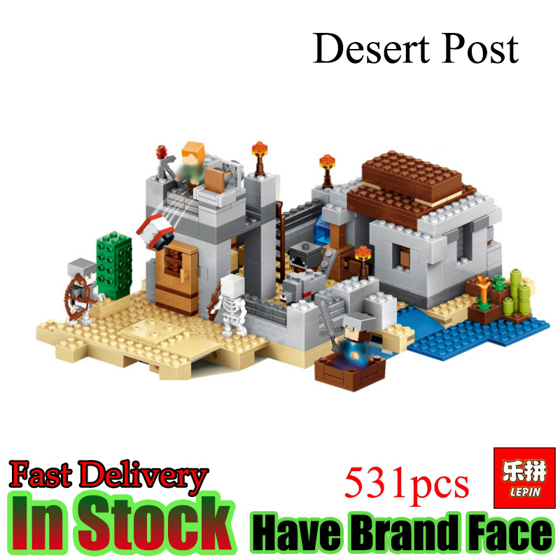 Lepin Minecraft 531pcs The Desert Post  My World Model house kits figures Set Model Building Blocks Bricks Toys For kids gifts new 4pcs set minecraft sword espada models figures my world building blocks model set figures compatible toys for kids