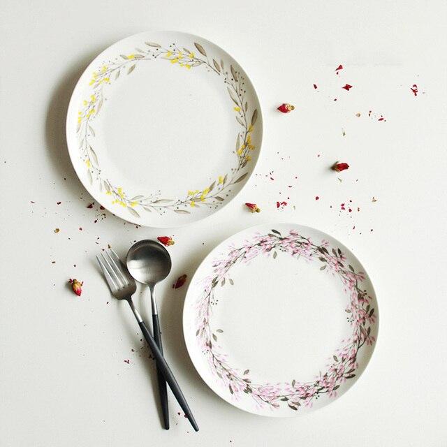Dinnerware Plate Dish Bone China On-glazed Floral Garland Printed Steak Plates Simple Cute Dishes & Dinnerware Plate Dish Bone China On glazed Floral Garland Printed ...