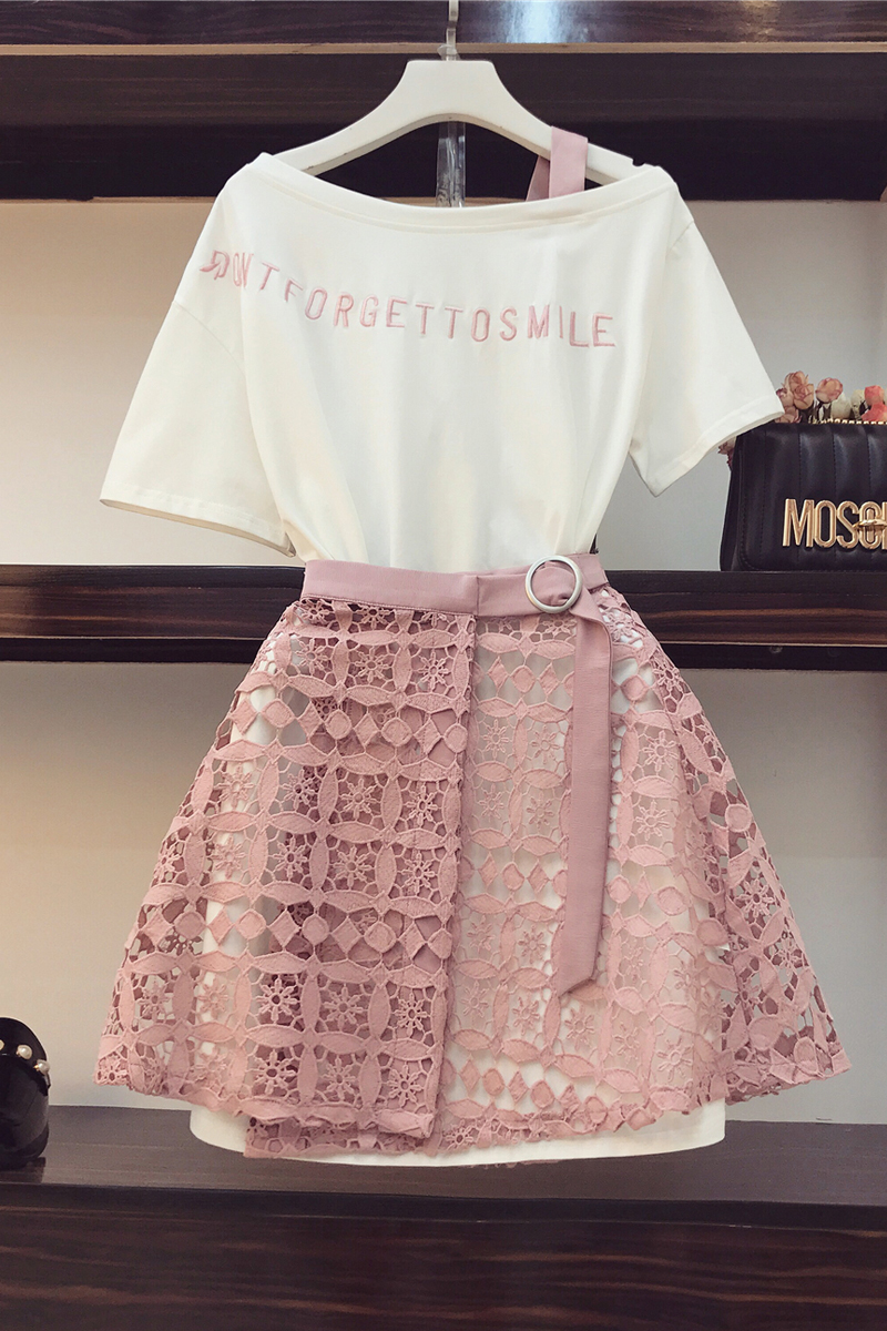 2019 Spring Summer Women Fashion 2 Piece Suit Slash Collar Off Shoulder Long T Shirt & Hollow Out Lace Skirt Suits Skirts Set #4