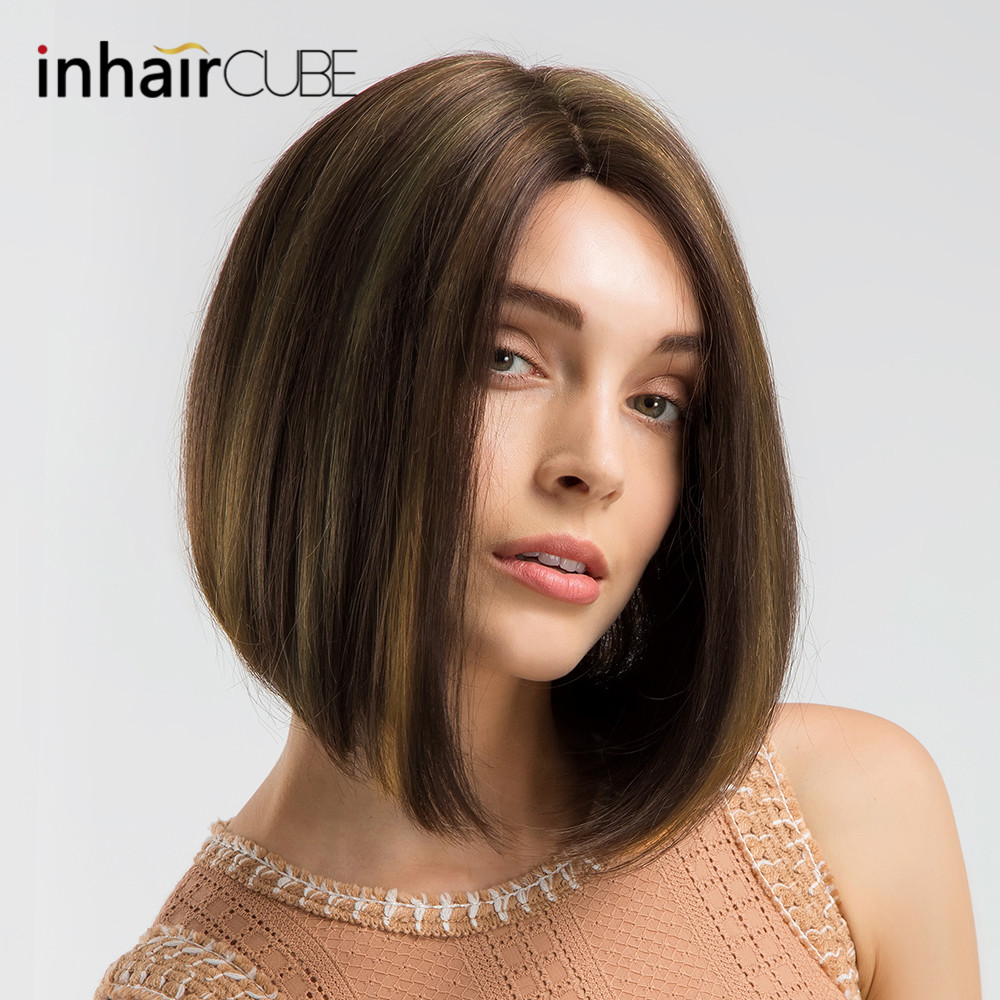 INHAIR CUBE Synthetic Blend Short Straight Hair Glueless Lace Wig Bob Hand tied Middle Part Mixed
