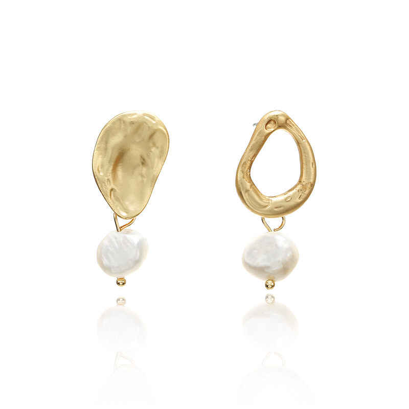 Vintage Irregular Freshwater Pearl Dangle Earrings For Women Brincos Geometric Drop Earring DIY Wedding Party Jewelry Gift