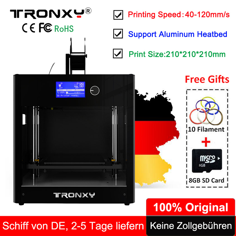Tronxy 3D Printer All-Metal Upgrade Frame 3.3 LCD Screen Dual Z Axis Extruder 3D Printer DIY Kit +10M Filament 8G SD Card Gift tronxy 3d printer all metal upgrade frame 3 3 lcd screen dual z axis extruder 3d printer diy kit 10m filament 8g sd card gift