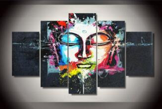 5 Pieces/set Buddha Canvas Painting Modern Decorative Portfolio Abstract art Paintings Wall Art Pictures for Living Room(China (Mainland))