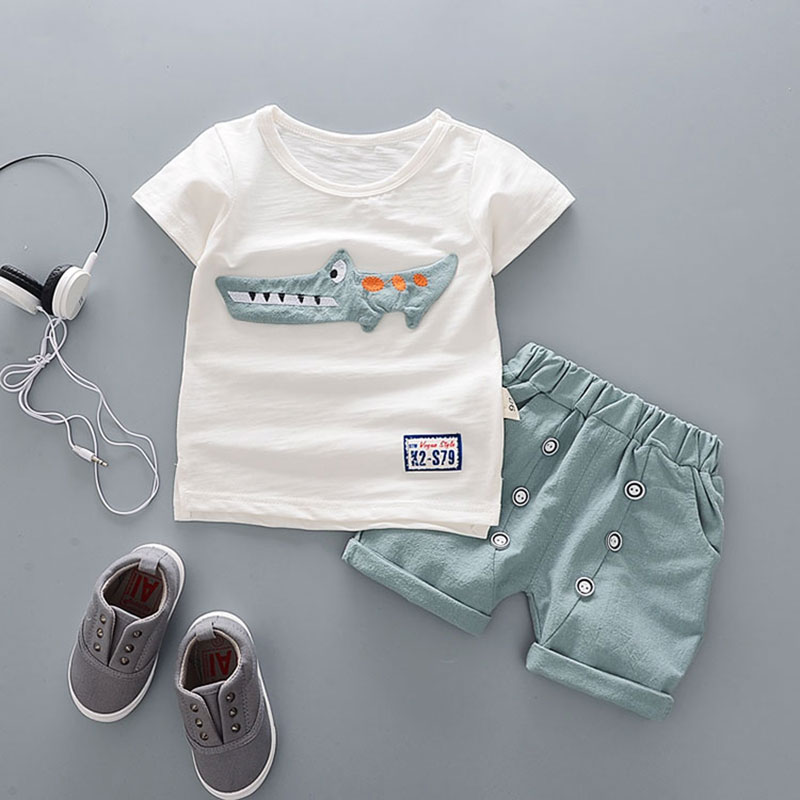 Cartoon Cotton Summer Clothing Sets For Newborn Baby Boy Infant Fashion Outerwear Clothes Suit T