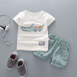 Conjuntos de roupas de verão de algodão dos desenhos animados para o bebê recém-nascido menino infantil moda outerwear roupas terno t-camisa + calça terno do bebê menino pano
