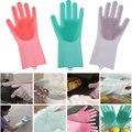 1 paar Magie Silikon Rubbe Dish Waschen Handschuhe Umweltfreundliche Wäscher Reinigung Für Mehrzweck Küche Bett Bad Haar Pflege-in Haushalts-Handschuhe aus Heim und Garten bei