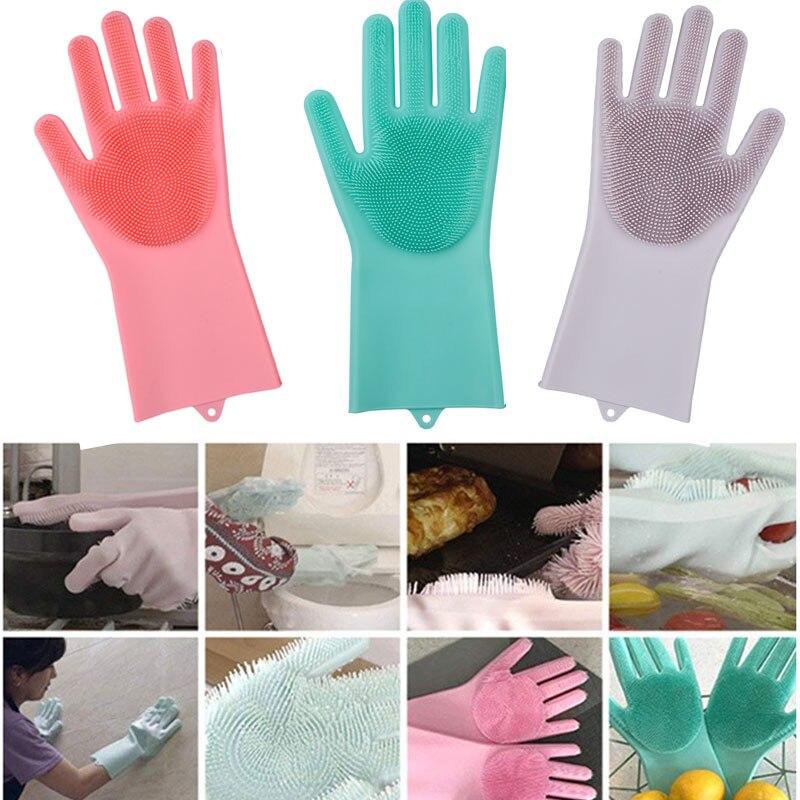 1 para Magie Silikon Rubbe Dish Waschen Handschuhe Umweltfreundliche Wäscher Reinigung Für Mehrzweck Küche Bett Bad Haar Pflege