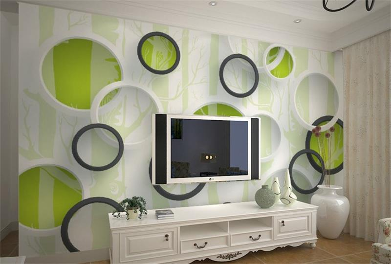 где купить 3d room wallpaper custom mural non-woven wall sticker 3D black and white circle painting photo murals wallpaper for walls 3d по лучшей цене