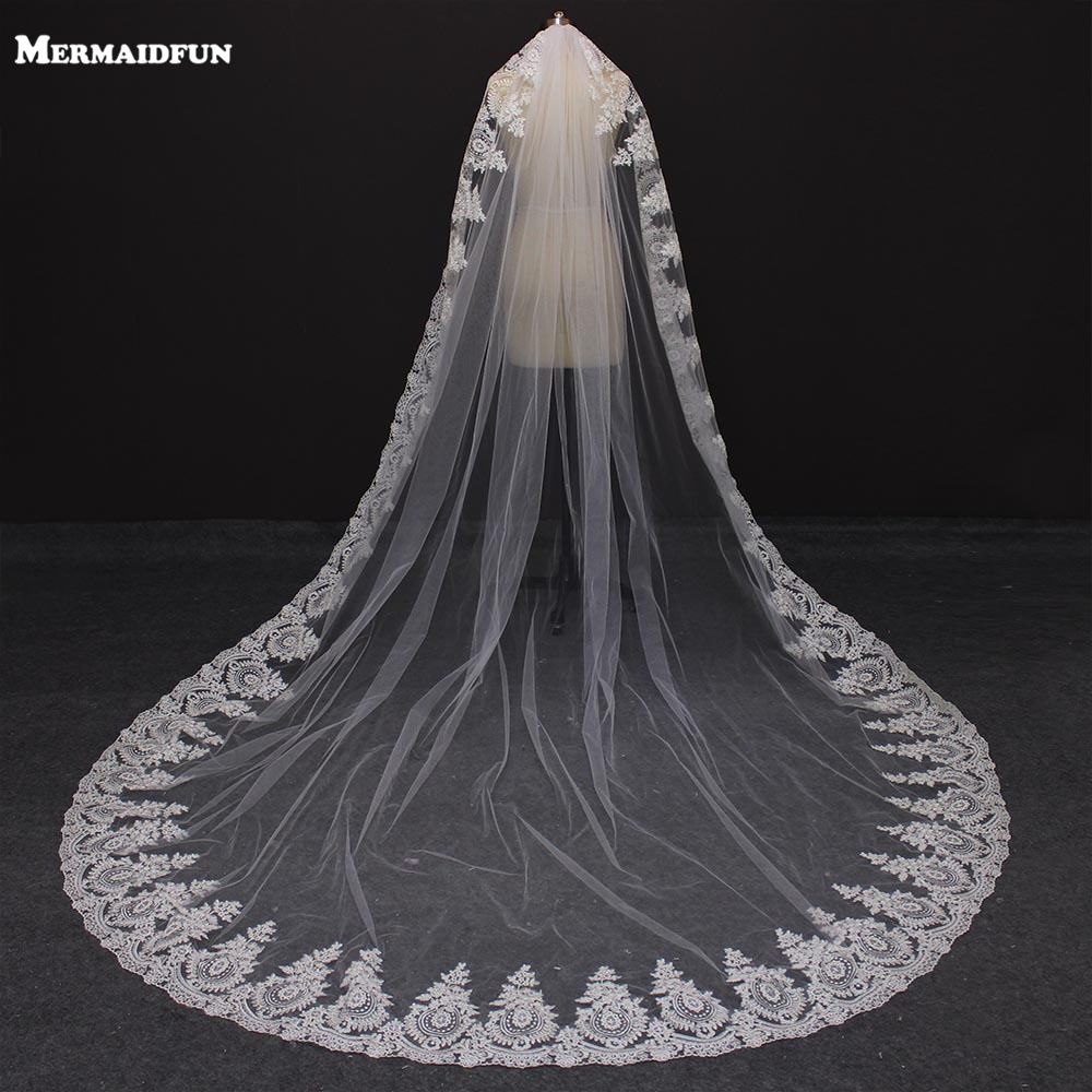 MERMAIDFUN 2019 One Layer Lace Edge Mantilla Cathedral Wedding Veils With Comb Long Bridal Veil Velo