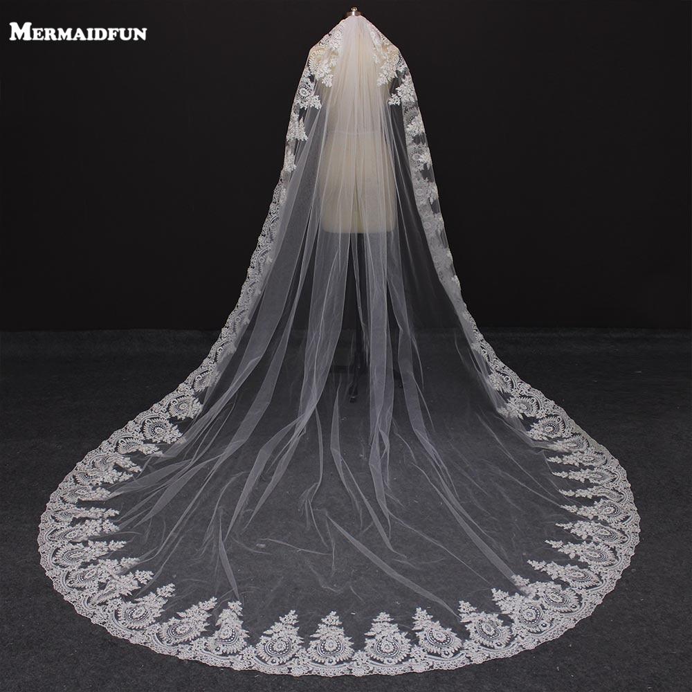 MERMAIDFUN 2019 Eden sloj čipke rob Mantilla katedrala Poroka tančico z glavnikom dolgimi poročni tančice Velo De Novia