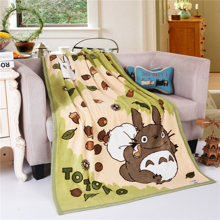 ФОТО Super Soft Coral thicken double layer fleece Child Blankets Cartoon Totoro Kids Plaids Nap Air conditioning blanket Throw