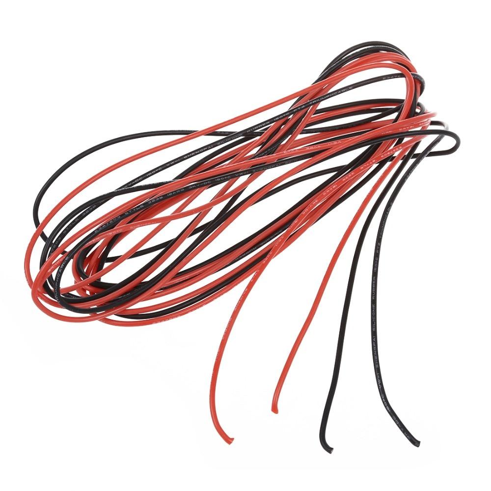 Горячий 2х 3M 18 Калибр AWG силиконовый резиновый провод кабель красный черный гибкий