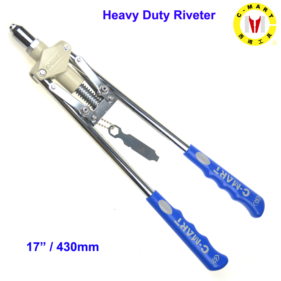C-mart Hand Tools Heavy Duty Industrial Manual Rivet Tools 2.4,3.2,4.0,4.8,6.4 Hand Riveter Double Handle Labor Saving