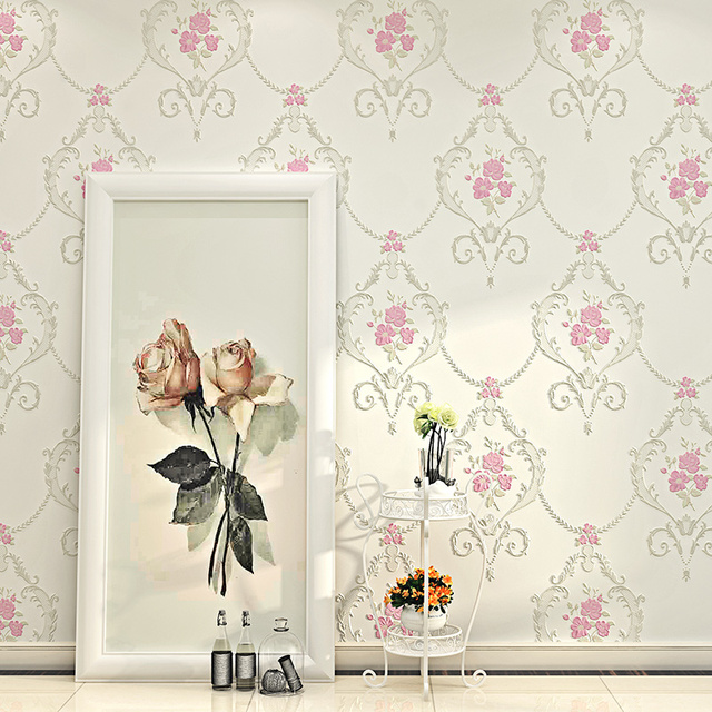 US $31.67 46% OFF|Wallpaper 3D Embossed Non woven Wallpapers Luxury  Pastoral Floral Wall Paper Mural Design Bedroom Wallpaper Designs Home  Decor-in ...