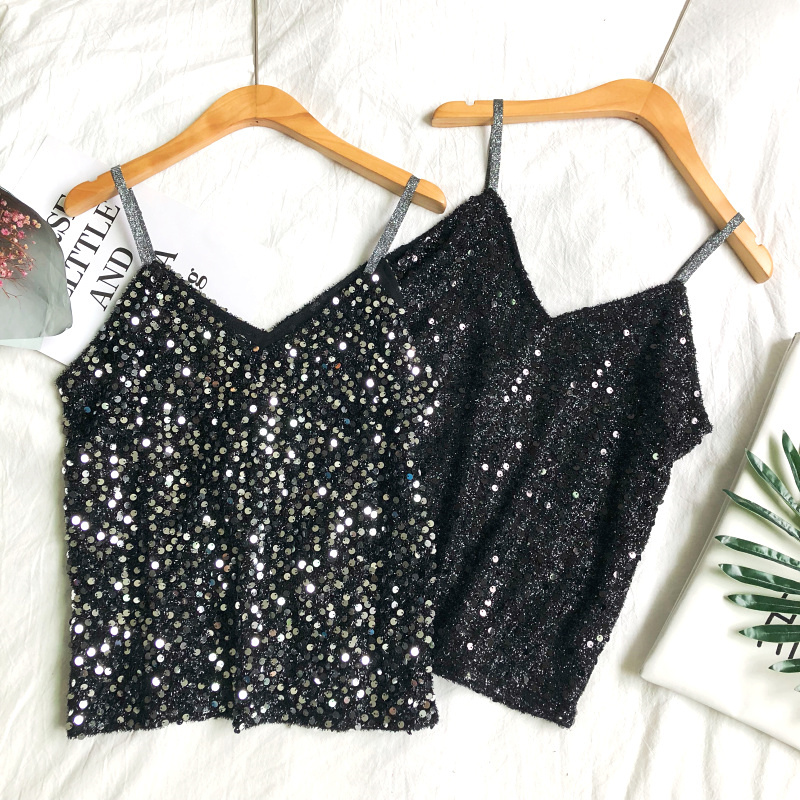 2019 New Summer Vintage Sequined   Tank     Tops   Women Loose Sexy V-Neck Short Camis Sleveless Strapless shoulder All-Match   Tops   Mw570