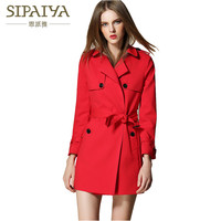 SIPAIYA 2017 Autumn New Fashion High Quality Trench Coat Double Breasted Famous Brand Women Trench Coat