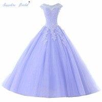 Sapphire Bridal Lange Partij Jassen Vestido De 15 Anos De Cap Mouw kant Open Back Lavendel Turquoise Kralen Quinceanera Jurk