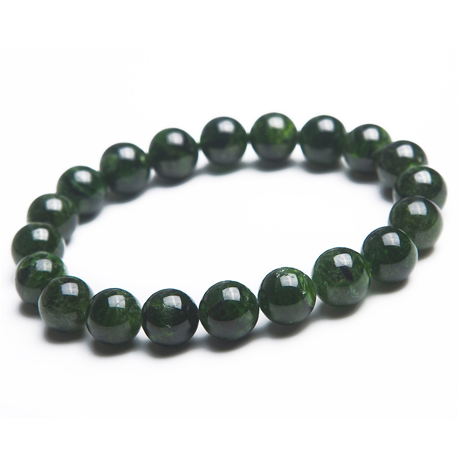 Women Lady 9mm Semi-Precious Genuine Natural Green Diopside Gems Stone Round Beads Jewelry Charm Stretch Bracelets genuine green seraphinite natural stone crystal round beads 14mm women mens stretch bracelets