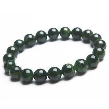 Women Lady 9mm Semi-Precious Genuine Natural Green Diopside Gems Stone Round Beads Jewelry Charm Stretch Bracelets