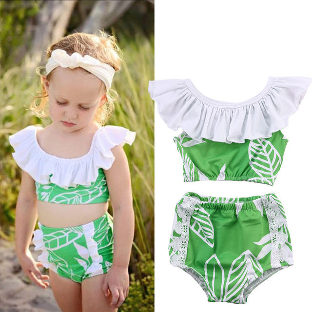 9e8266752acf6 Two-piece Baby Girls Ruffles Swimsuits Babies Girl Tankini Bikini Swimwear  Bathing Suit Beachwear Costume Clothing