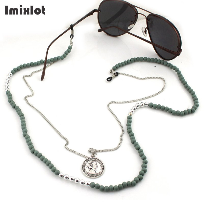 2 Layer Coin Pendant Sunglasses Lanyard Strap Necklace Wooden & Stone Beaded Eyeglass Glasses Chain Cord For Reading Glasses
