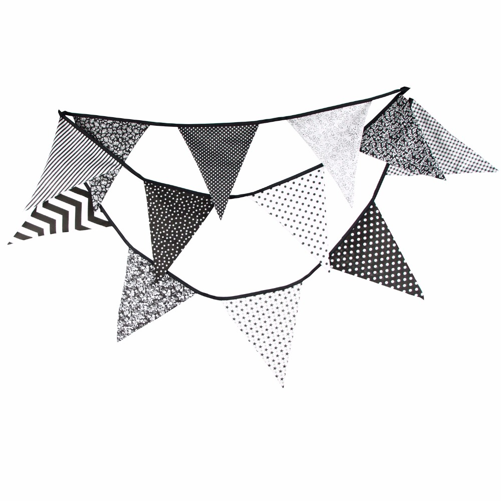White Black Stripes Banner, Flags Bunting Garland For Wedding / Birthday / Baby Shower Party Decoration 360cm cotton banner