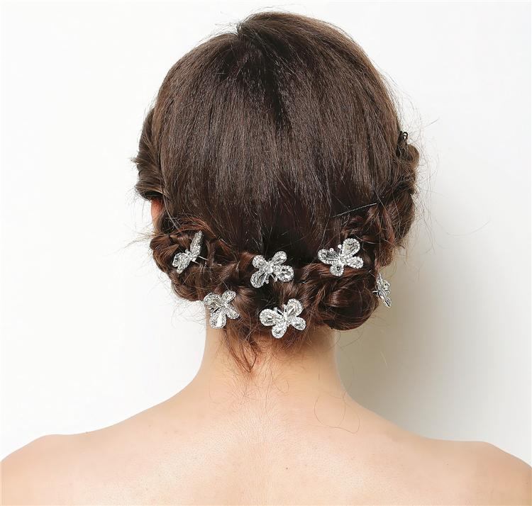 6pc lot rhinestone wedding hairpins butterfly crystal hair pins hairpin clips wedding hair accessories jewelry wigo0442 in hair jewelry from jewelry