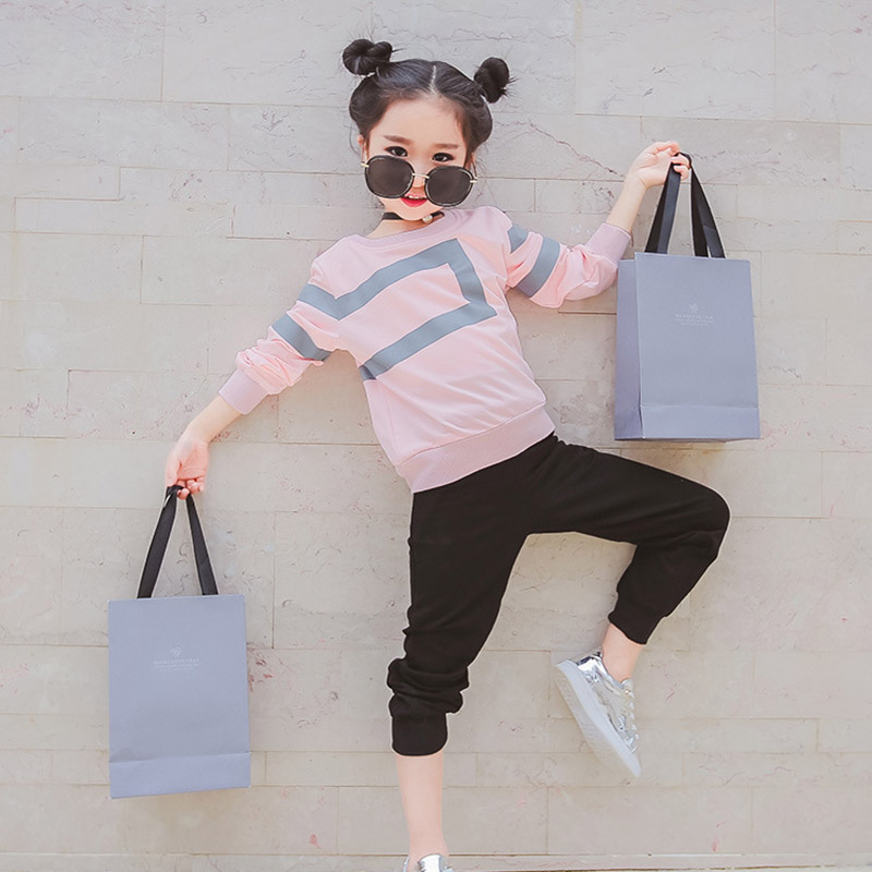 Girl clothing set new arrival kids sports suit children tracksuit girls Tshirt pant baby sweatshirt casual clothes 4 5 6 7 8 12Y baby girl clothing syriped short sleeve tshirt pant headband 2pcs set summer baby girls clothes set roupa de bebe