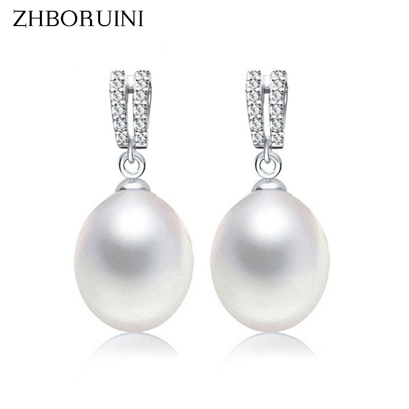 ZHBORUINI 2018 Fashion Pearl Earrings Natural Freshwater Pearl Drop Earrings Double Row 925 Sterling Silver Jewelry For women