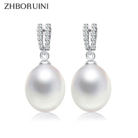 ZHBORUINI 2018 Fashion Pearl Earrings Natural Freshwater Pearl Drop Earrings Double Row 925 Sterling Silver Jewelry For women