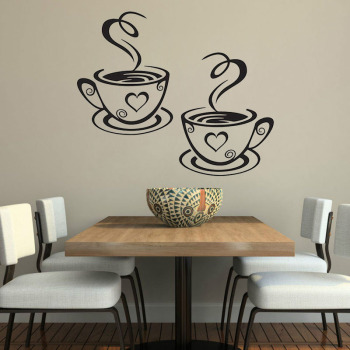 Double Coffee Cups Wall Stickers Beautiful Design tea Cups Room Decoration Vinyl Art Wall Decals Adhesive Stickers Kitchen Decor 1