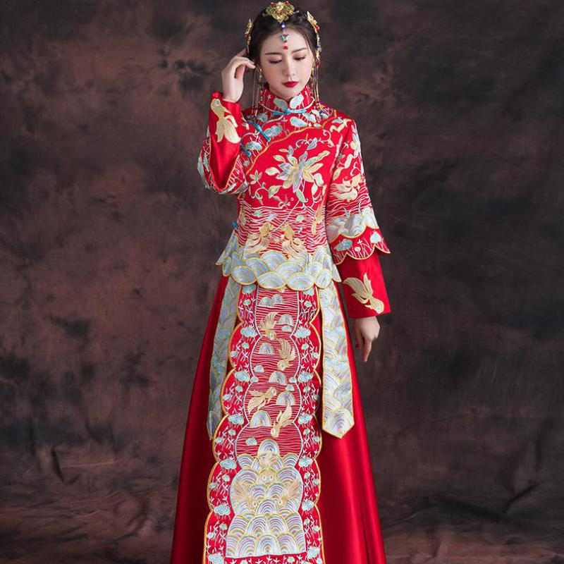 Chinese Women Floral Cheongsam Red Handmade Embroidery Qipao Asian Bride Wedding Dress Gown Stage Show Clothing Marriage Gift