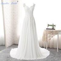 Sapphire BridalLong Wedding Dress Vestido De Noiva Vestito Da Sposa Open Back Appliques Train White Ivory Wedding Dress Hot Sale