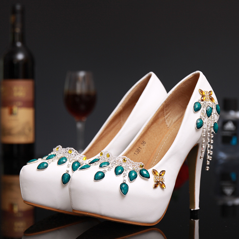 Elegant font b Women b font Pumps Handmade White Crystal Wedding Shoes Fashion Platform font b