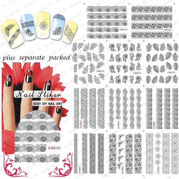 2015 NUEVO 50 Unids/lote BLE1500-1510 El vestido de Encaje Negro Delgado Falso Diseño de Uñas Manicura Tatuajes de Uñas de Arte de Uñas Agua Arte Decal