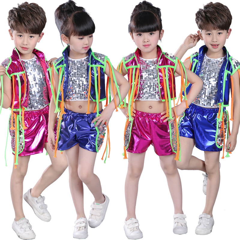 3pcs/set Children Jazz Modern Dance Costume Kids Hip Hop Clothing Streetwear Sequin Hiphop Jacket T-shirt Jazz Dresses For Girls