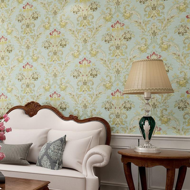 living retro wall brown warm background bedroom tv paper woven non beibehang roll desktop 3d american flower wallpapers walls