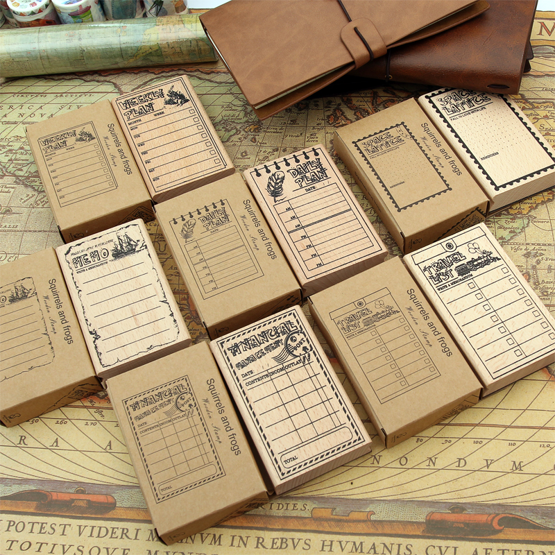 1pc Wood clear stamps cute planner Financial memo week plan scrapbooking Photo album decoration DIY oris 658