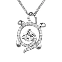 цены Wholesale Personalized Sterling Silver Sea Turtle Necklace White Gold Color Birthstone Necklace For Your Love For Family Lady