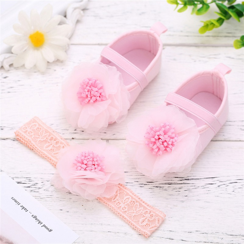Baby Girl Shoes First Walkers Lace Flower Princess Shoes+Headwear Headband  Bow Shoes