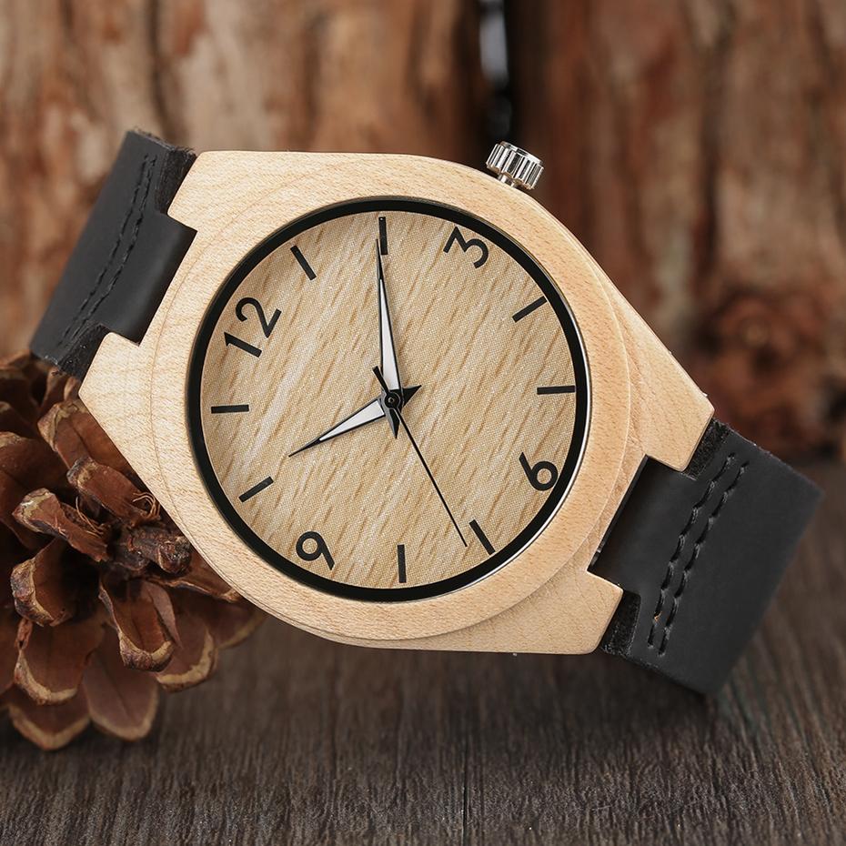 Creative Full Natural Wood Male Watches Handmade Bamboo Novel Fashion Men Women Wooden Bangle Quartz Wrist Watch Reloj de madera 2017 (57)