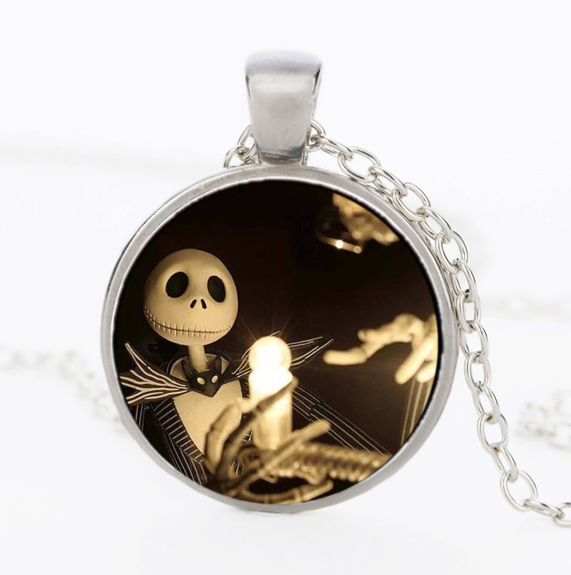 The Nightmare Before Christmas Jack Skellington Glass Dome Necklaces&Pendants Jewelry Gifts For Children Statement Necklace 2016