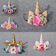 Noel Unicorn boynuz çiçek taç bebek kız Headbands paskalya Unicorn saç bandı çocuklar için çiçek unicorn kafa bandı kızlar için